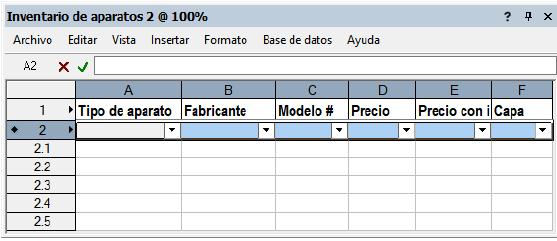 Definir filas de hoja de cálculo
